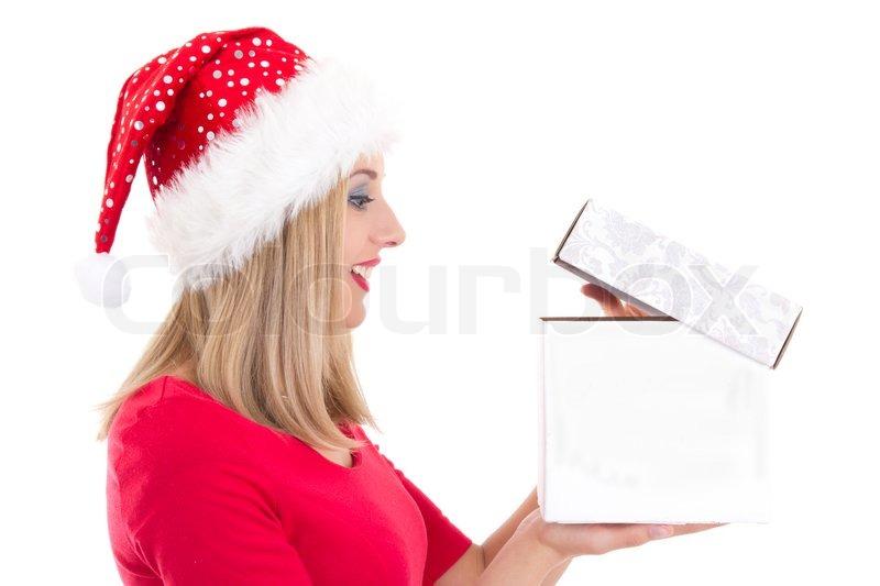 portr t der jungen h bschen frau mit weihnachtsgeschenk. Black Bedroom Furniture Sets. Home Design Ideas
