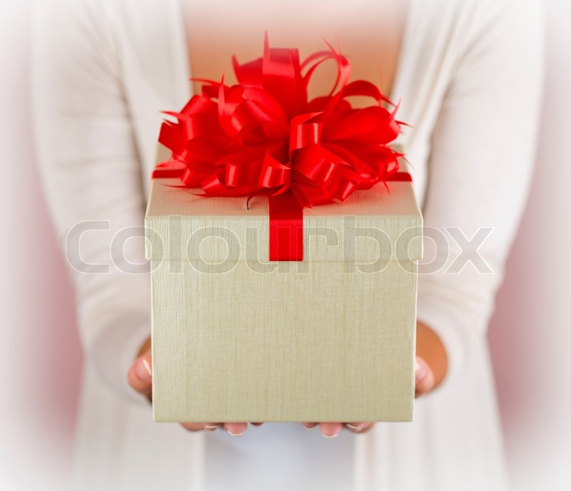 Hands holding beautiful gift box stock photo colourbox - How to make beautiful gift box ...