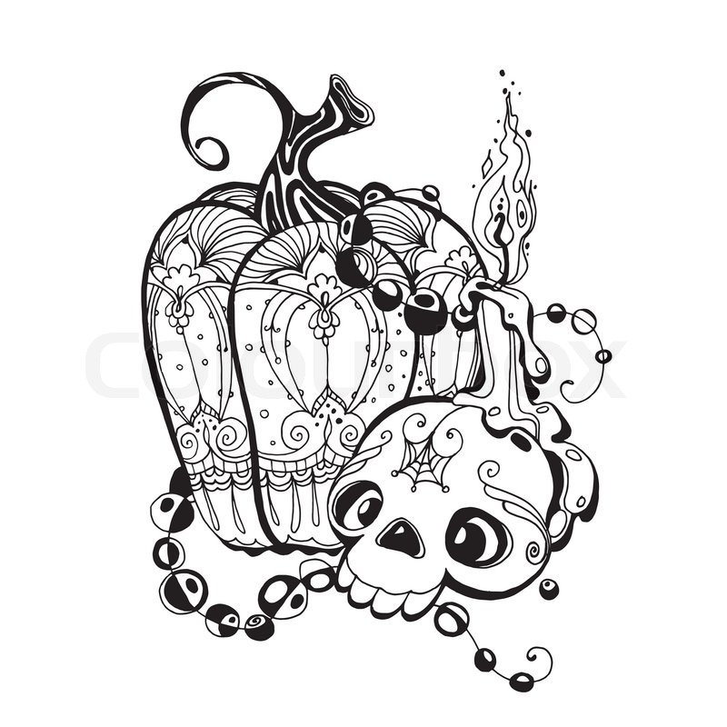 schwarz wei illustration mit sch del k rbis und eine kerze auf einem wei en hintergrund. Black Bedroom Furniture Sets. Home Design Ideas