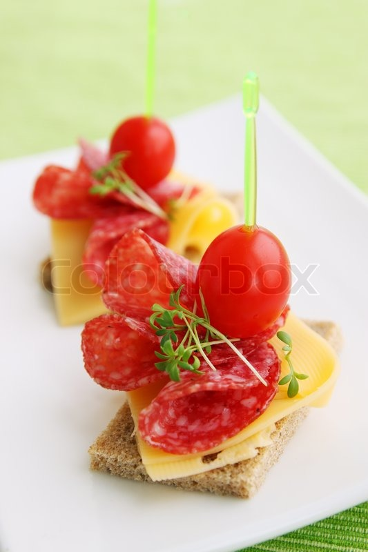 Canapes with cheese and salami stock photo colourbox for Canape suppliers