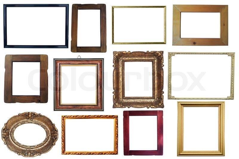 Collection of vintage wooden and golden empty frames isolated on white  background | Stock Photo | Colourbox