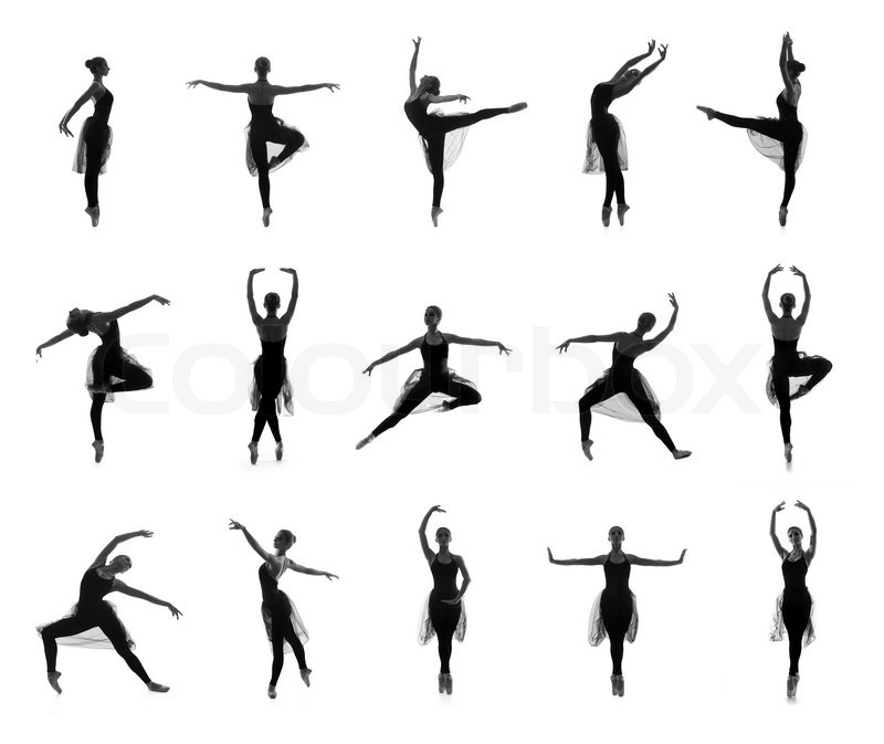 Collection Of Different Ballet Poses Black And White