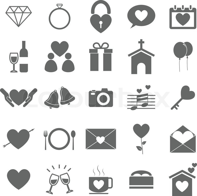 wedding icons on white background stock vector stock