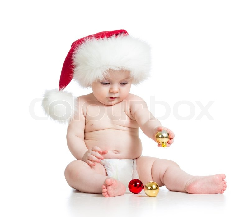 Baby girl with Santa Claus hat  08510ee81f7