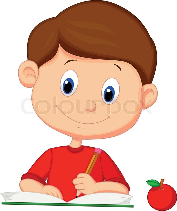 Vector Illustration Of Cute Boy Cartoon Writing On A Book