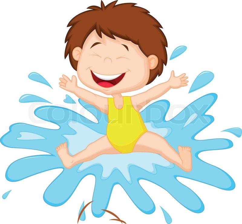 Mädchen-Cartoon ins Wasser springen   Stock-Vektor   Colourbox