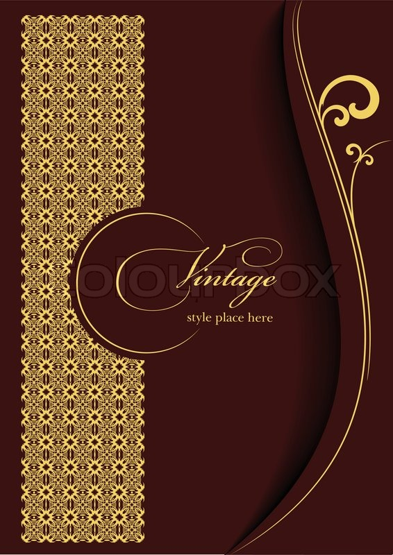 Gold ornament on brown background can be used as invitation card gold ornament on brown background can be used as invitation card or cover vector illustration vector stopboris Images