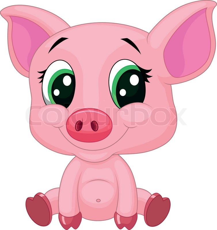 Vector illustration of cute baby pig cartoon stock - Pig wallpaper cartoon pig ...