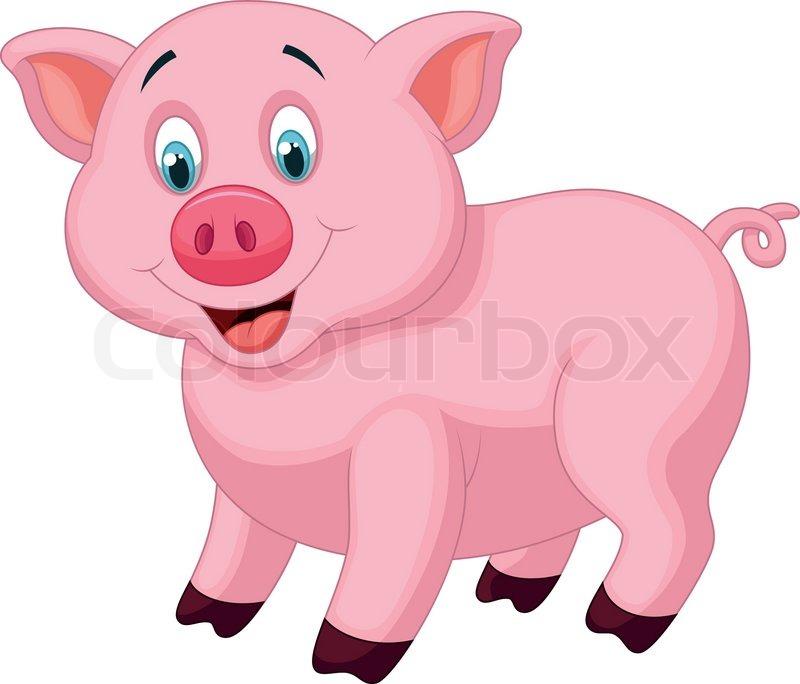 Vector illustration of cute pig stock vector colourbox - Pig wallpaper cartoon pig ...
