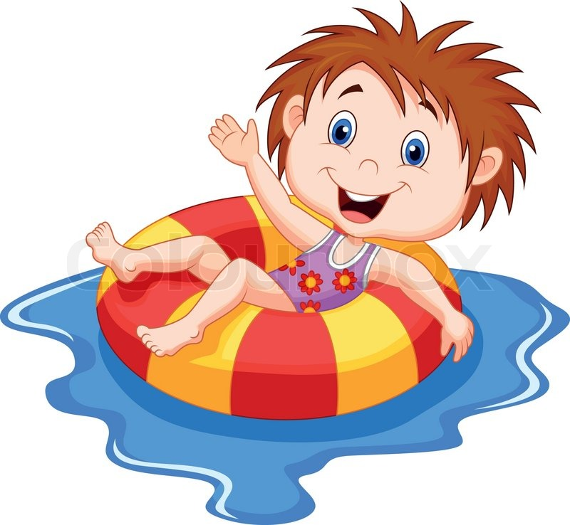 Vector illustration of girl cartoon floating on an