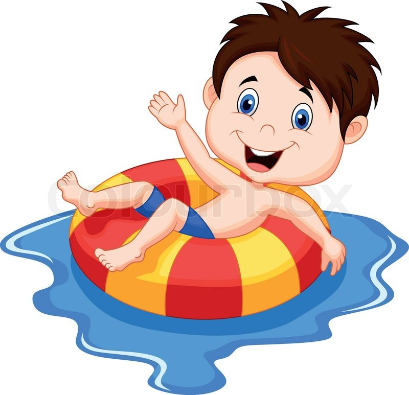 vector illustration of boy cartoon floating on an inflatable circle in the pool stock vector colourbox - Cartoon Boy Images Free