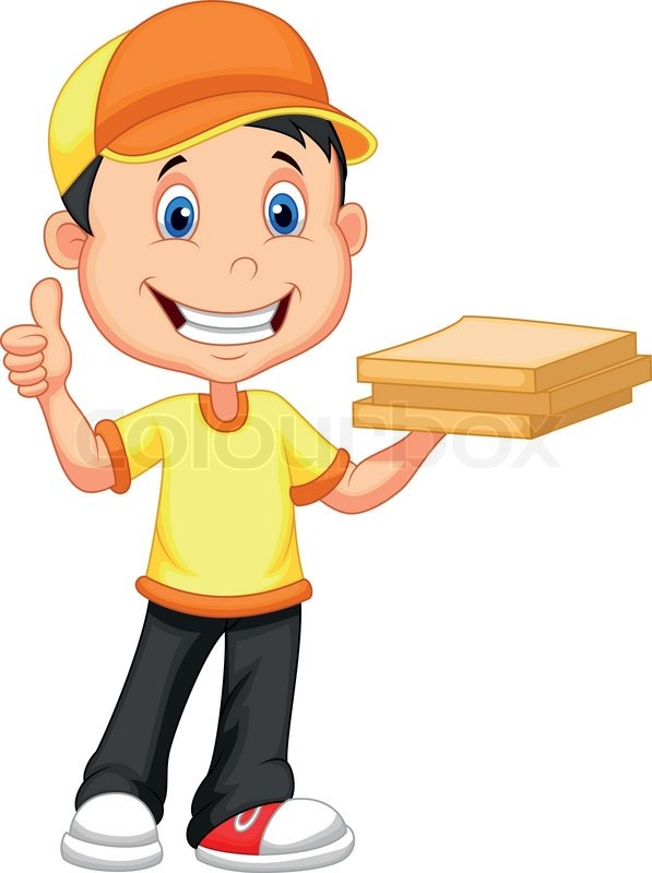 Cartoon Delivery Boy Bringing A Cardboard Pizza Box