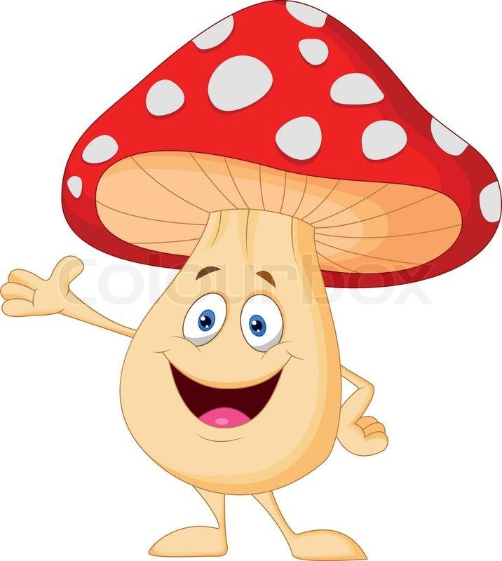 Cute Mushroom Cartoon Stock Vector Colourbox