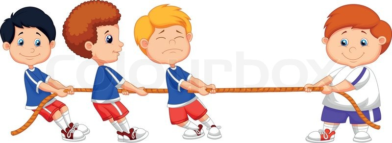 Cartoon Kids Playing Tug Of War Stock Vector Colourbox