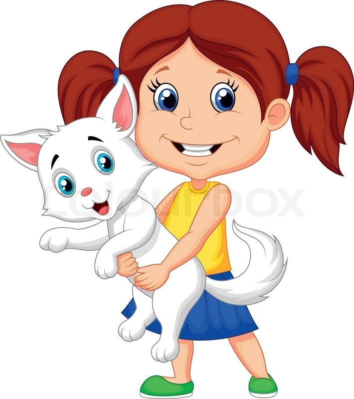 cartoon happy little girl hugging her pet stock vector colourbox rh colourbox com