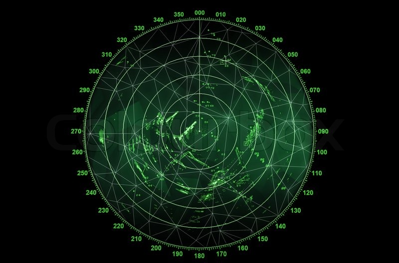 Modern Radar Screen With Green Round Map And Digital Wire