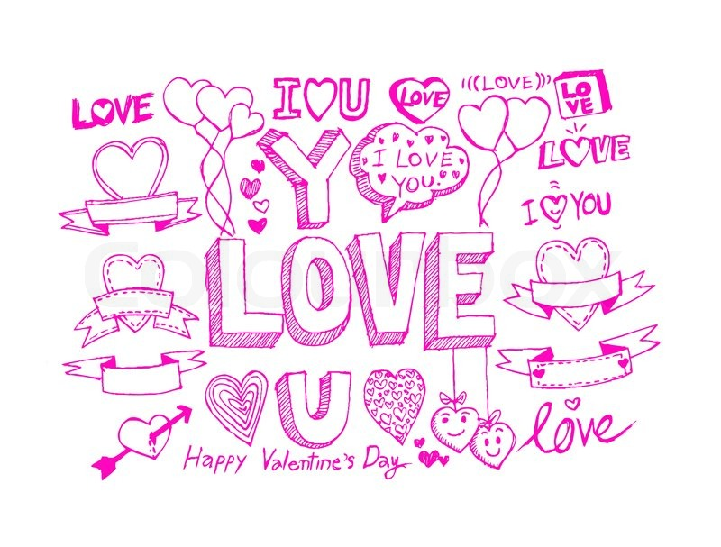 Hand draw Valentine\'s day design, labels, icons elements | Stock ...