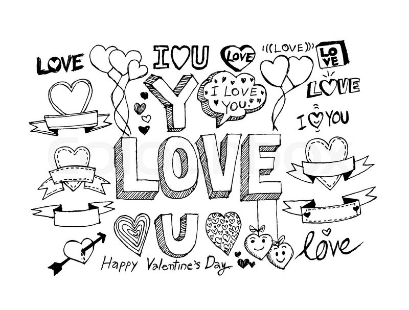 hand draw valentines day design labels icons elements vector
