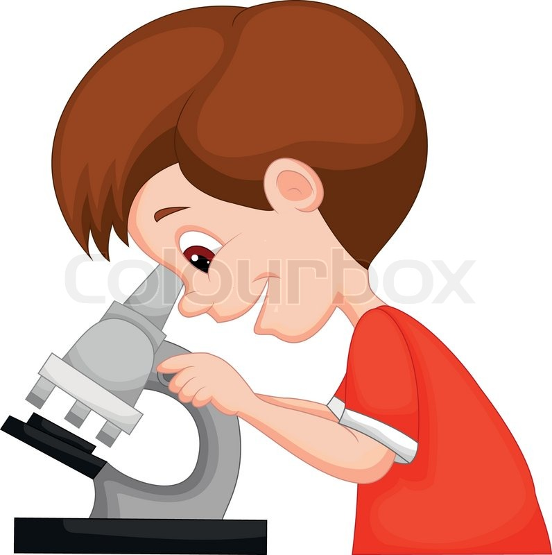 vector illustration of young boy cartoon using microscope science experiment clipart black and white Mad Scientist Clip Art