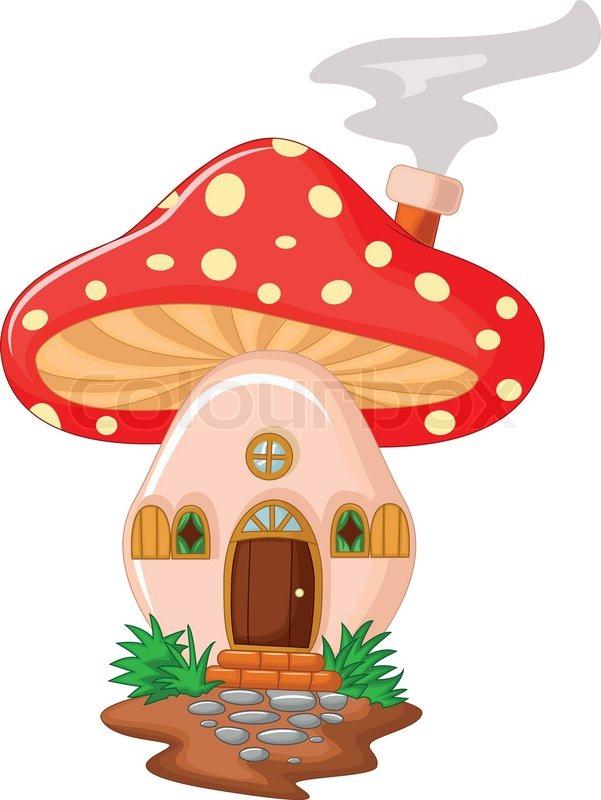 Vector Illustration Of Mushroom House Cartoon Stock