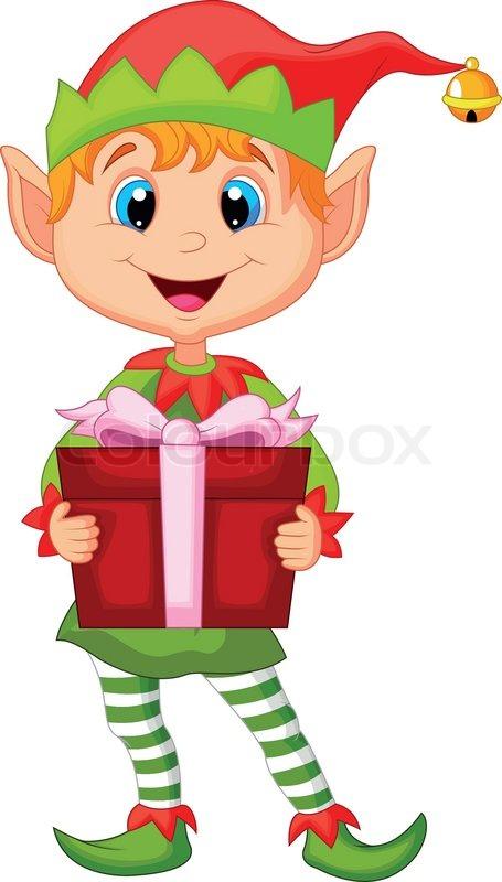 Cute Christmas Cartoon Elf Holding A Gift Stock Vector