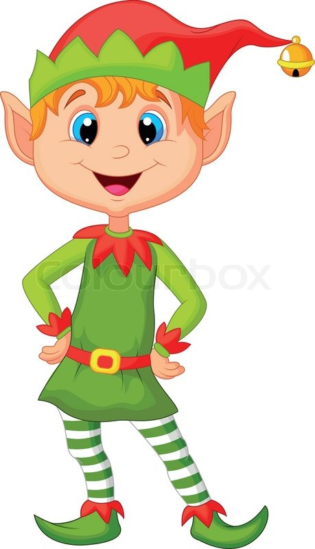vector illustration of cute cartoon and happy looking christmas elf stock vector colourbox christmas cartoon elves clipart christmas cartoon elves clipart
