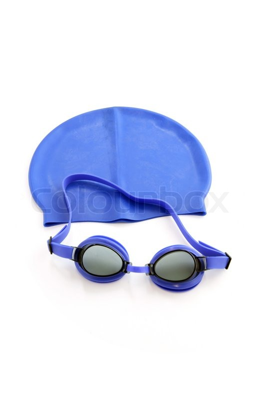 Blue Swimming Cap And Goggles Stock Photo Colourbox
