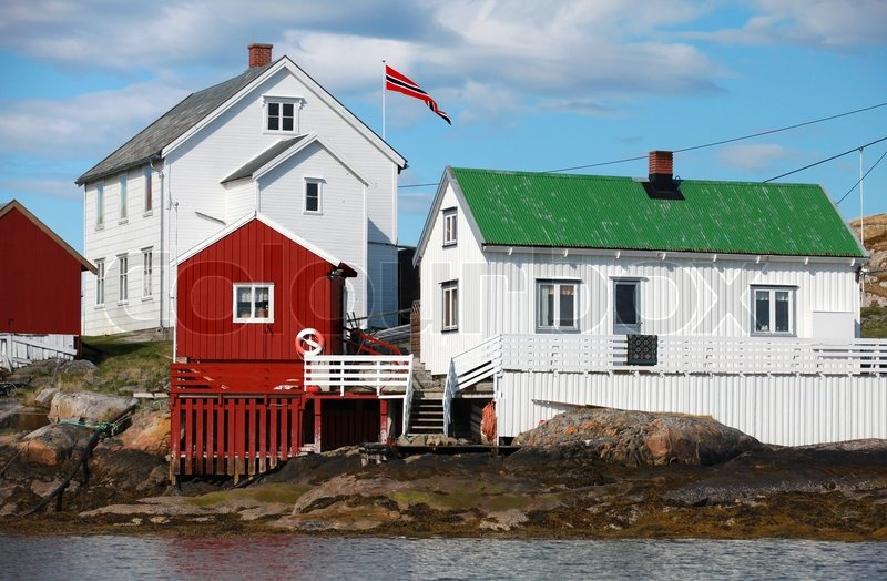 Traditional Norwegian Village With Red And White Wooden
