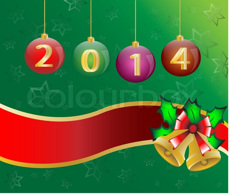 Happy new year 2014 Christmas Card Background Illustration vector ...