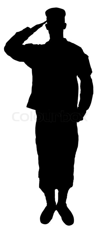 Saluting army soldier's silhouette isolated on white ...