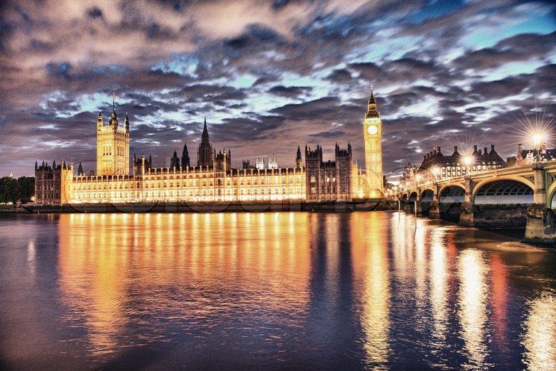 London, UK Beautiful Sunset Colors Shining On Westminster