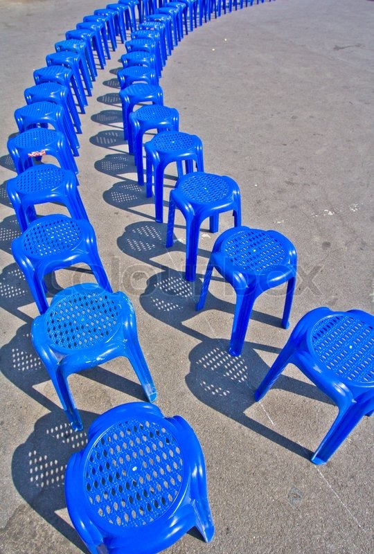 blue plastic chair stock photo colourbox