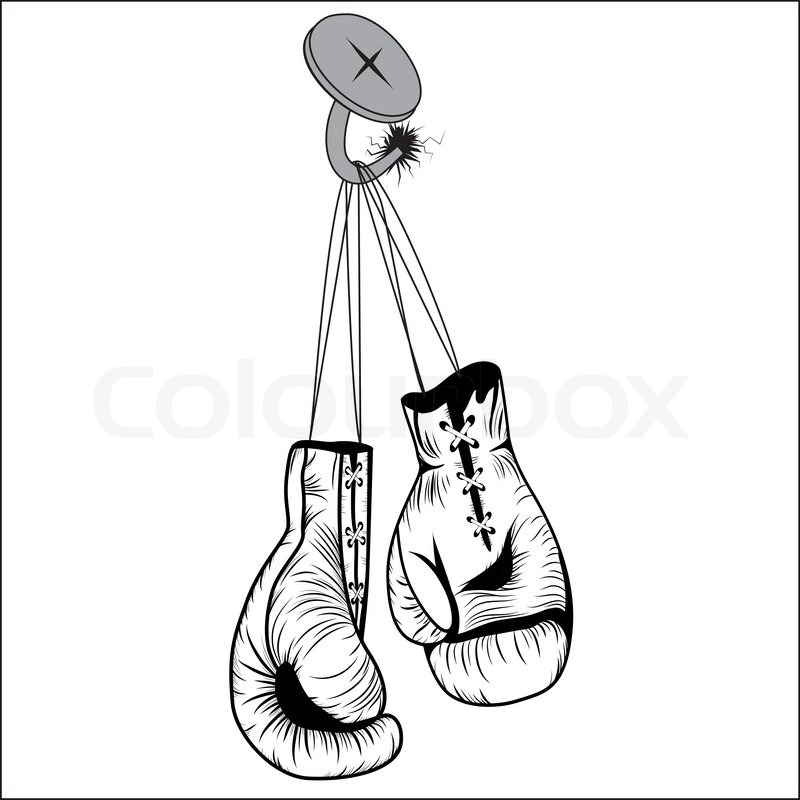 Boxing Gloves Hang With Laces Nailed To Wall As A Business Or Sport Concept Of A Person That