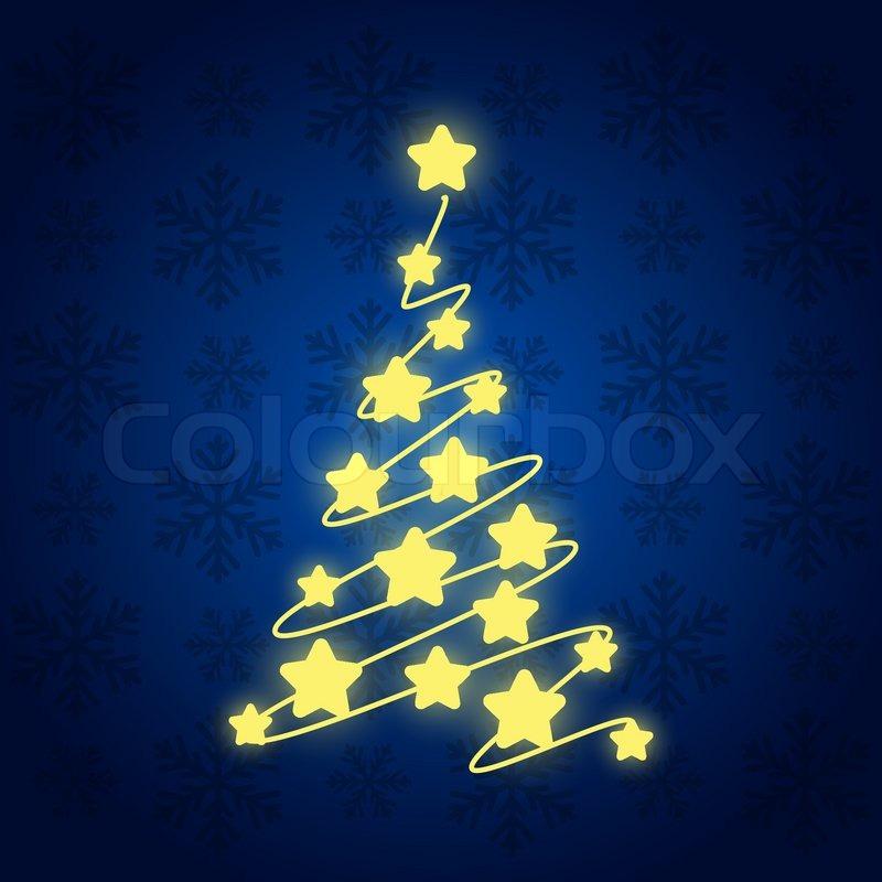 starry christmas tree on blue stock vector colourbox - Starry Christmas