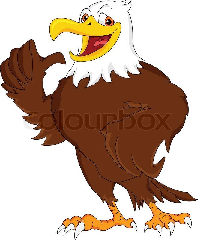 Eagle Cartoon Thumb Up Stock Vector Colourbox
