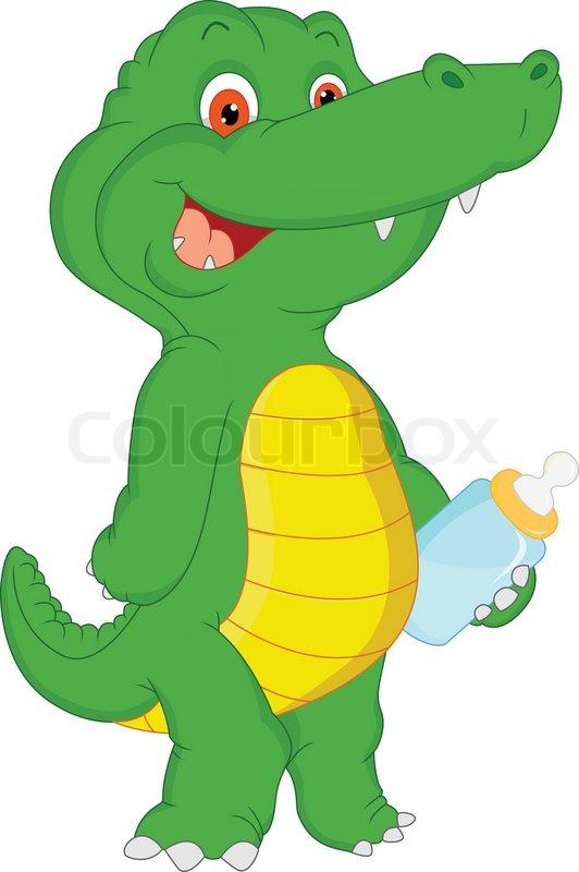 Cute Baby Crocodile Cartoon Stock Vector Colourbox