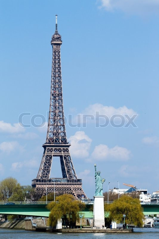 statue of liberty and eiffel tower in paris stock photo colourbox. Black Bedroom Furniture Sets. Home Design Ideas