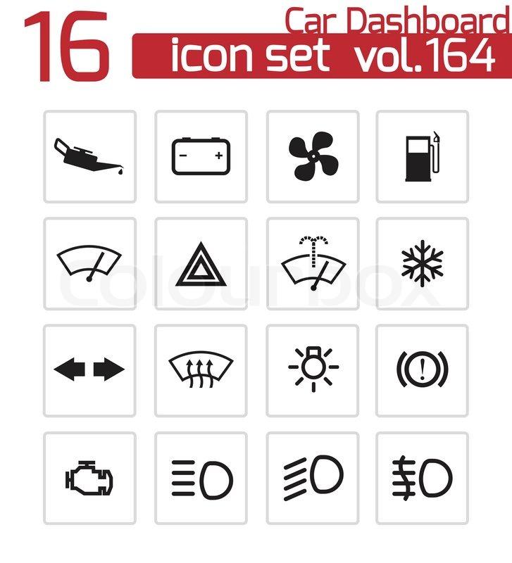 Vector Balck Car Dashboard Icons Set Stock Vector