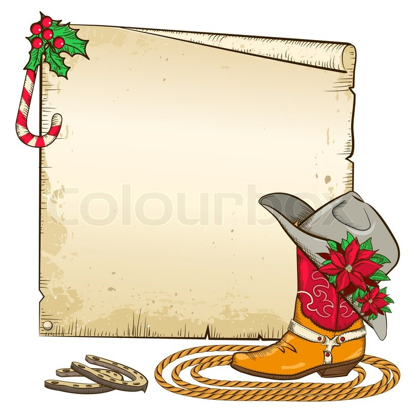 Christmas paper background with horseshoes and cowboy boot ...