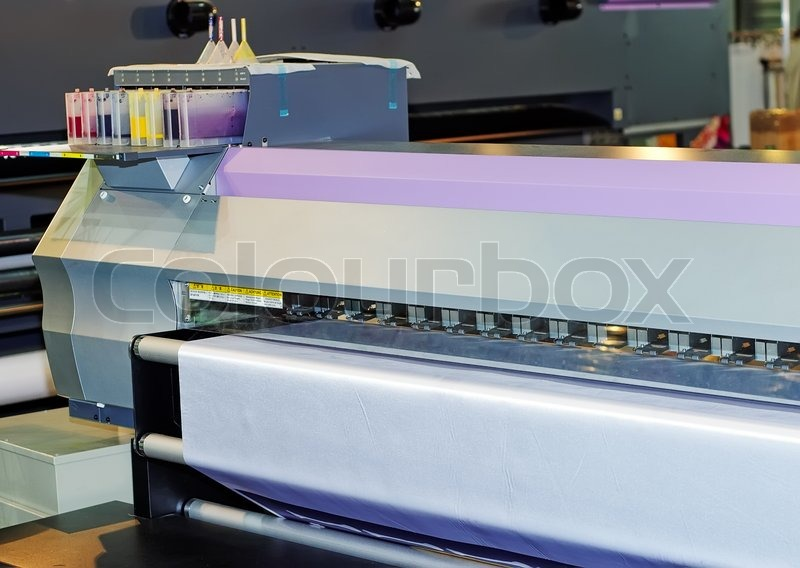 Large format inkjet printers for outdoor billboards printing, stock photo