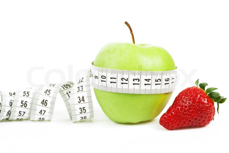 Measuring Tape Wrapped Around A Green Apple And Strawberry As A