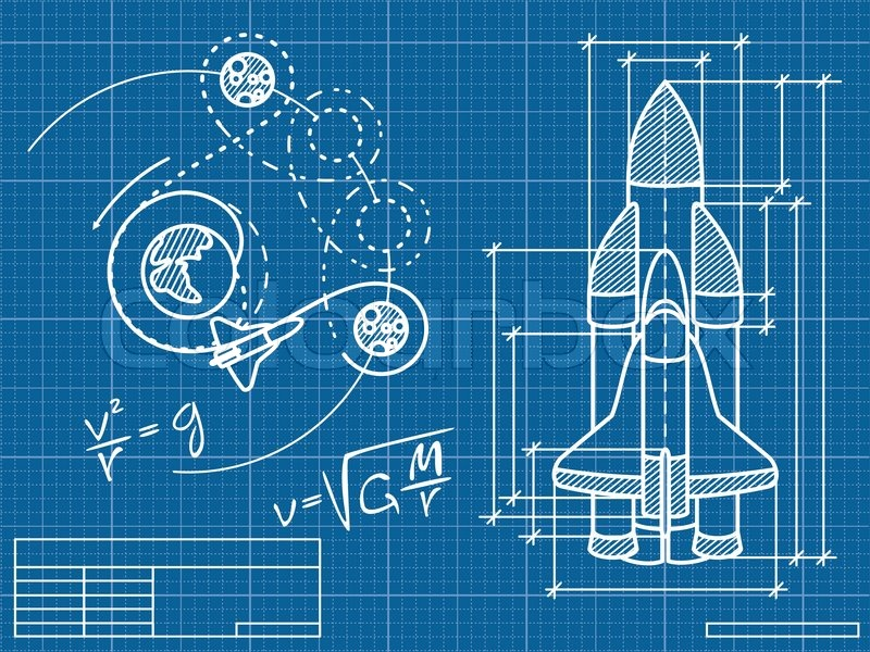 Blueprint of the spaceship and its flight path stock for Where to buy blueprint paper