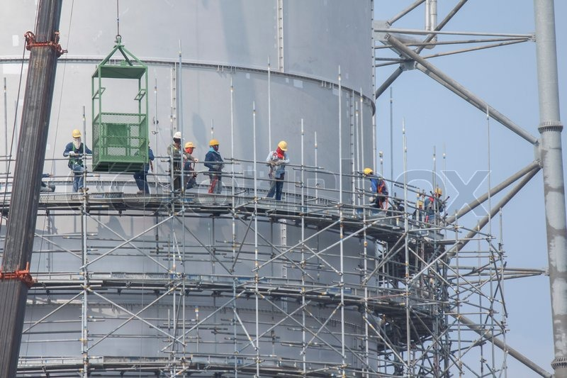Scaffolding Structure Of Tank Storage In Industrial Factory   Stock Photo    Colourbox