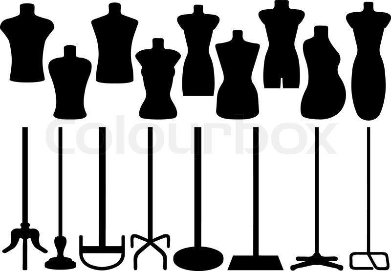 set of different tailors mannequin stock vector colourbox