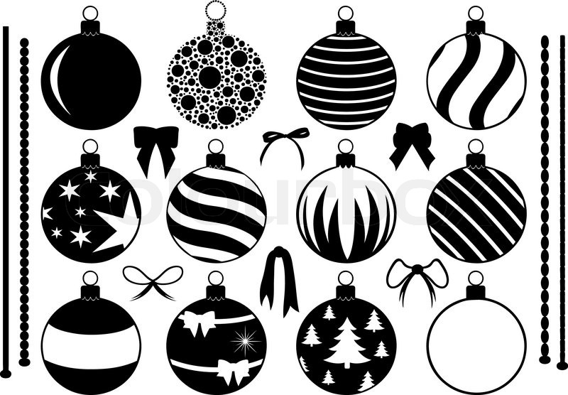 Set Of Different Christmas Decorations Isolated On White Vector Colourbox