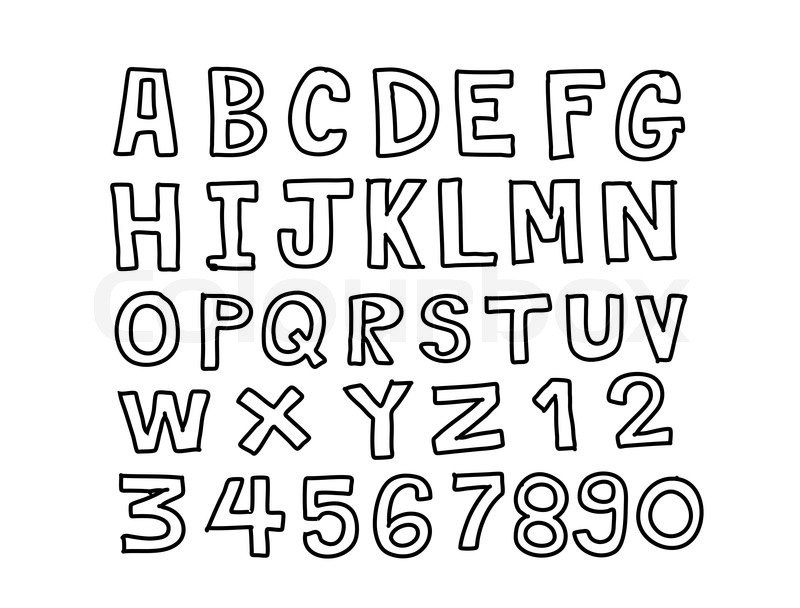 Line Art Letters : Design of line font sketch hand drawing vector letters