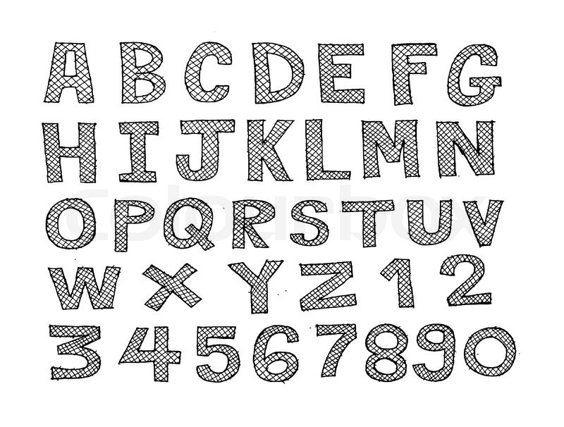 Line Art Font : Design of line font sketch hand drawing vector letters