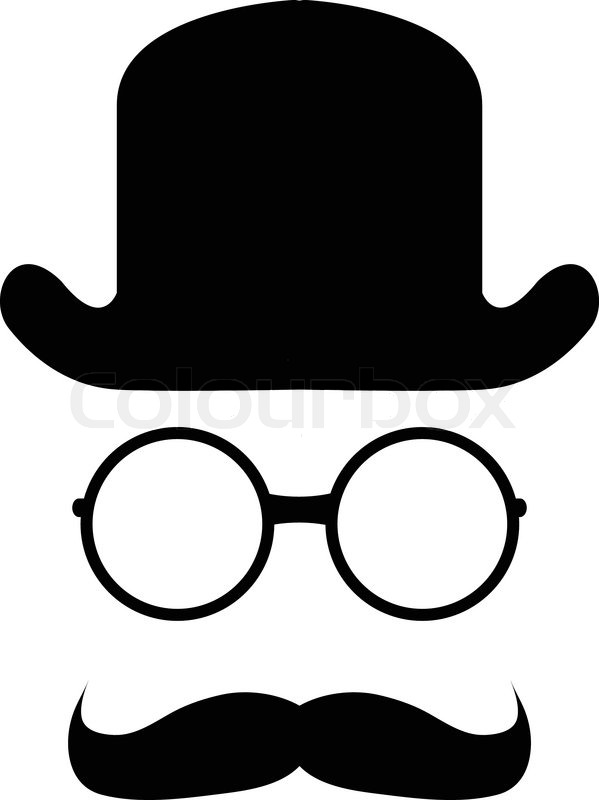 Bowler Hat Mustache Glasses Stock Vector Colourbox