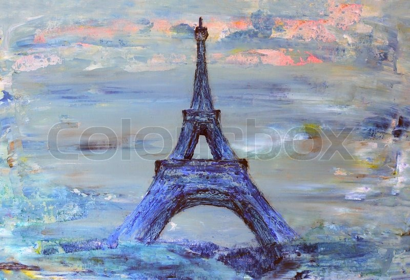 eiffelturm von paris gemalt auf papier stockfoto colourbox. Black Bedroom Furniture Sets. Home Design Ideas