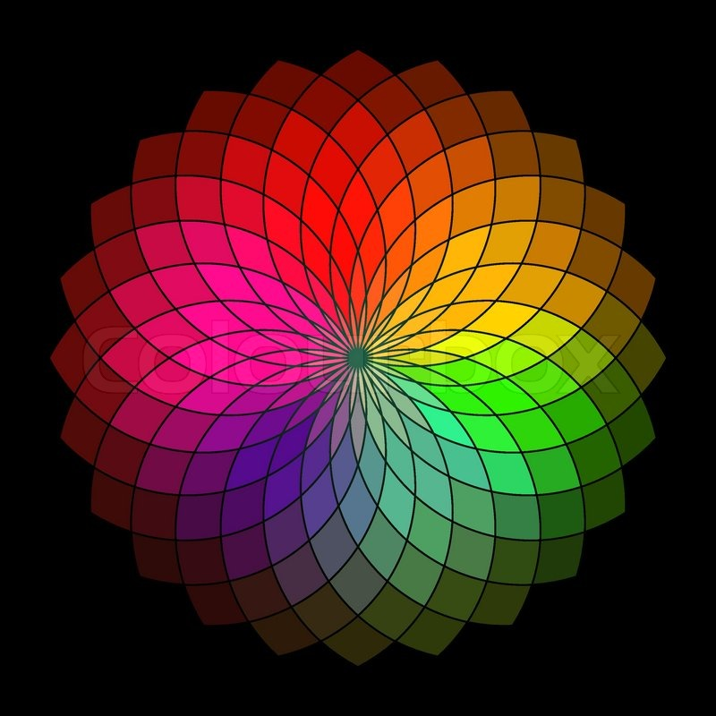 Rainbow Style Vector Wheel Color Creative Abstract Flower Stock